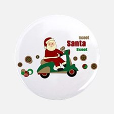 "Scootin Santa 3.5"" Button"