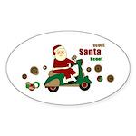Scootin Santa Oval Sticker (10 pk)