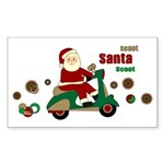Scootin Santa Rectangle Sticker 10 pk)