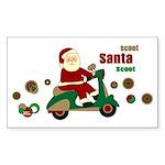 Scootin Santa Rectangle Sticker 50 pk)