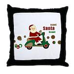Scootin Santa Throw Pillow