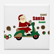 Scootin Santa Tile Coaster