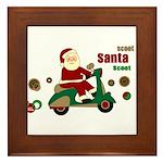 Scootin Santa Framed Tile