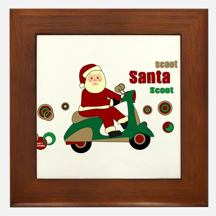 Scootin Santa Framed Tile