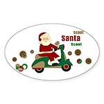 Scootin Santa Oval Sticker