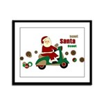 Scootin Santa Framed Panel Print