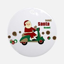 Scootin Santa Ornament (Round)