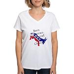 Born American. Democrat by Ch Women's V-Neck T-Shi