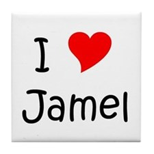 Cute I love jamel Tile Coaster