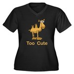 Too Cute Camel Women's Plus Size V-Neck Dark T-Shi