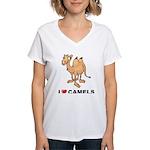 I Love Camels Women's V-Neck T-Shirt