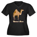 Camel Love Women's Plus Size V-Neck Dark T-Shirt