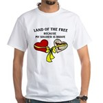 Land of the Free 2 hearts White T-Shirt
