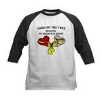 Land of the Free 2 hearts Kids Baseball Jersey