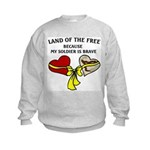 Land of the Free 2 hearts Kids Sweatshirt