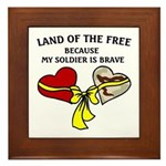 Land of the Free 2 hearts Framed Tile