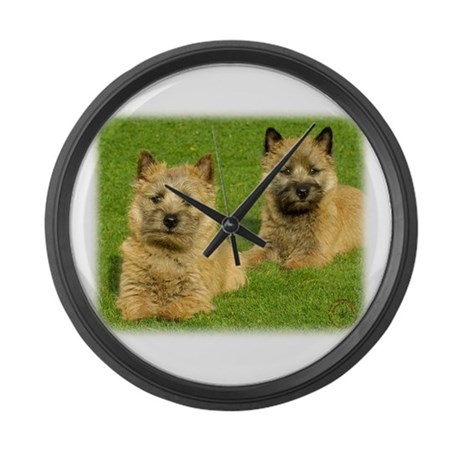 Cairn Terrier puppies 9W048D-035 Large Wall Clock
