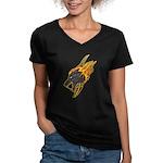 Wolf Women's V-Neck Dark T-Shirt