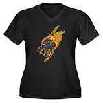 Wolf Women's Plus Size V-Neck Dark T-Shirt