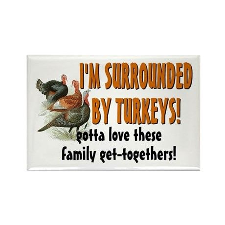 Surrounded by Turkeys Rectangle Magnet