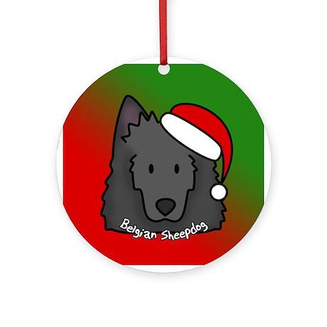 Cartoon Belgian Sheepdog Christmas Ornament