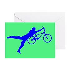 GREEN BLUE BMX Greeting Card