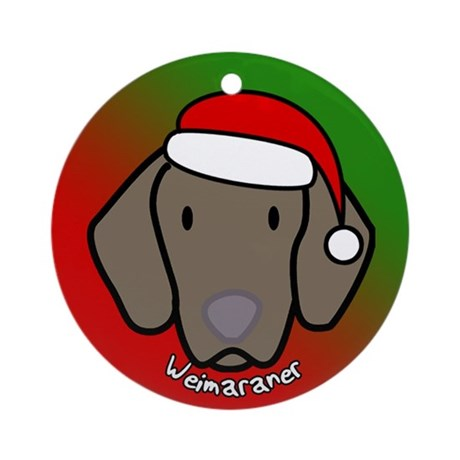 Cartoon Weimaraner Christmas Ornament
