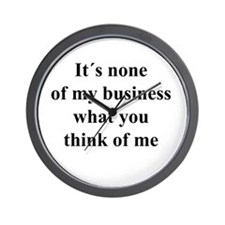 None of My Business black txt Wall Clock