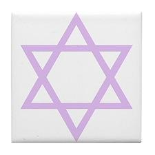 Lavender Star of David Tile Coaster
