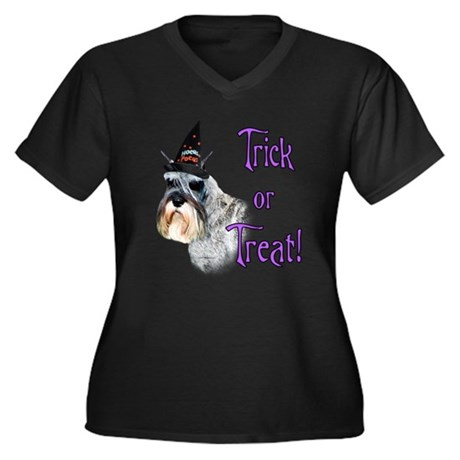 Mini Schnauzer Trick Women's Plus Size V-Neck Dark