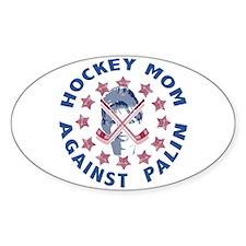 Hockey Mom Against Palin Oval Decal