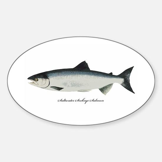 Saltwater Sockeye Salmon Oval Decal