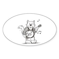 CatoonsT Banjo Cat Oval Decal