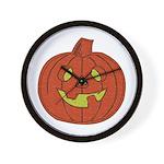 Grinning Halloween Pumpkin Wall Clock