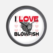 I Love Blowfish Wall Clock