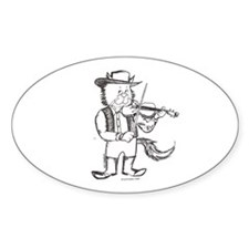 CatoonsT Fiddle Cat Oval Decal