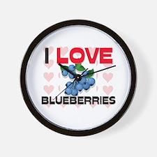 I Love Blueberries Wall Clock