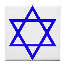 Blue Star of David Tile Coaster