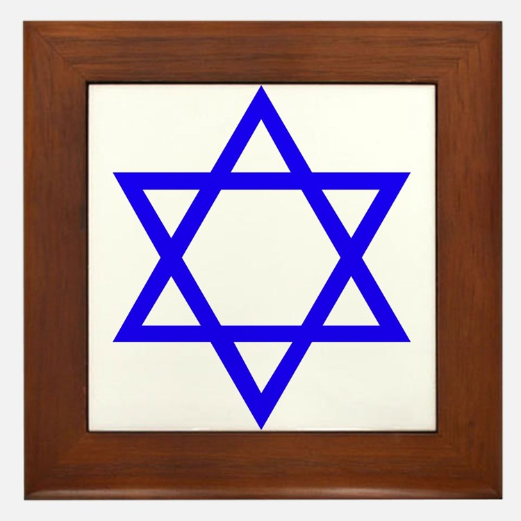 Blue Star of David Framed Tile