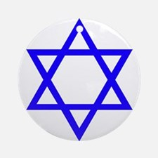 Blue Star of David Ornament (Round)