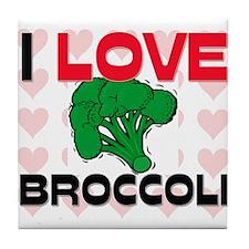 I Love Broccoli Tile Coaster