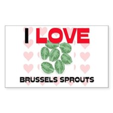 I Love Brussels Sprouts Rectangle Decal