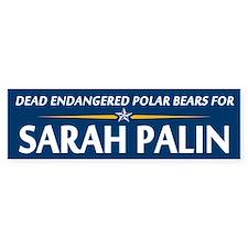 Dead Polar Bears for Palin Bumper Bumper Sticker