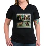 Goldens of Many Talents Women's V-Neck Dark T-Shir