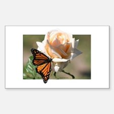 Jan's Rose & Monarch Rectangle Decal