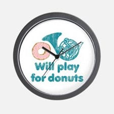 Will Play Horn for Donuts Wall Clock