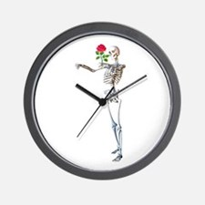Halloween Skeleton With Rose Wall Clock