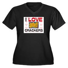I Love Crackers Women's Plus Size V-Neck Dark T-Sh