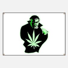 Halloween Weed Leaf Dracula Banner