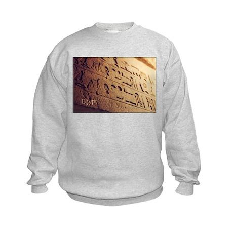 Egypt Hieroglyphic Wall Photo Kids Sweatshirt